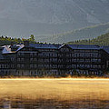 Many Glacier Hotel Sunrise Panorama by Mark Kiver