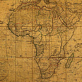 Map Of Africa Circa 1829 On Worn Canvas by Design Turnpike