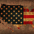 Map of America United States USA With Flag Art on Distressed Worn Canvas by Design Turnpike