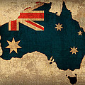 Map of Australia With Flag Art on Distressed Worn Canvas by Design Turnpike