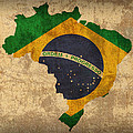 Map Of Brazil With Flag Art On Distressed Worn Canvas by Design Turnpike