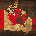Map of Canada With Flag Art on Distressed Worn Canvas by Design Turnpike