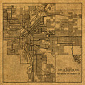 Map Of Denver Colorado City Street Railroad Schematic Cartography Circa 1903 On Worn Canvas by Design Turnpike