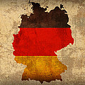 Map of Germany With Flag Art on Distressed Worn Canvas by Design Turnpike