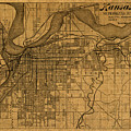Map Of Kansas City Missouri Vintage Old Street Cartography On Worn Distressed Canvas by Design Turnpike