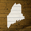 Map Of Maine State Outline White Distressed Paint On Reclaimed Wood Planks. by Design Turnpike