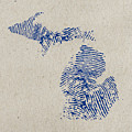 Map Of Michigan Great Lake State Fingerprint Art by Design Turnpike