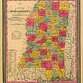 Map Of Mississippi 1850 by Mountain Dreams