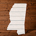 Map Of Mississippi State Outline White Distressed Paint On Reclaimed Wood Planks. by Design Turnpike