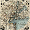 Map Of New York 1891 by Andrew Fare
