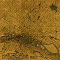 Map Of Portland Oregon City Street Schematic Cartography Circa 1924 On Worn Parchment  by Design Turnpike