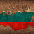 Map of Russia With Flag Art on Distressed Worn Canvas by Design Turnpike