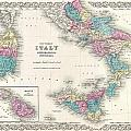 Map Of Southern Italy Sicily Sardinia And Malta by Paul Fearn