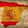 Map of Spain With Flag Art on Distressed Worn Canvas by Design Turnpike