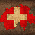 Map Of Switzerland With Flag Art On Distressed Worn Canvas by Design Turnpike