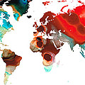 Map Of The World 5 -colorful Abstract Art by Sharon Cummings