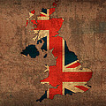 Map of United Kingdom With Flag Art on Distressed Worn Canvas by Design Turnpike