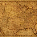 Map Of United States Of America Vintage Schematic Cartography Circa 1855 On Worn Parchment  by Design Turnpike
