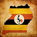 Map Outline Of Uganda With Flag Grunge Paper Effect by Matthew Gibson