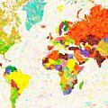 maps pointilism World Map with leaves by MotionAge Designs