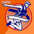 Marathon Finish What You Started Retro Poster by Aloysius Patrimonio