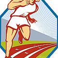 Marathon Runner Running Race Track Retro by Aloysius Patrimonio