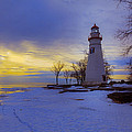 Marblehead Lighthouse Winter Sunrise by Jack R Perry