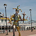 Mardi Gras Jester And River Boat by Diane Lent