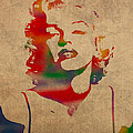 Marilyn Monroe Watercolor Portrait On Worn Distressed Canvas by Design Turnpike