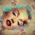 Marilyn Red Lips Digital Painting by Georgeta Blanaru