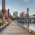 Marina Along Willamette River In Portland Oregon Downtown by Jit Lim