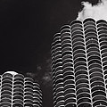 Marina City Morning B W by Steve Gadomski