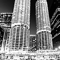 Marina City Towers At Night Black And White Picture by Paul Velgos