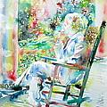 Mark Twain Sitting And Smoking A Cigar - Watercolor Portrait by Fabrizio Cassetta