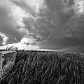 Marker - Black And White Photo Of Stone Marker And Brewing Storm In Kansas by Southern Plains Photography