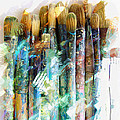 Marker Sketch Of Artist's Brushes by Elaine Plesser