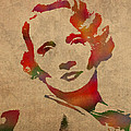 Marlene Dietrich Movie Star Watercolor Painting On Worn Canvas by Design Turnpike