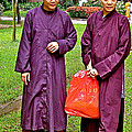 Maroon-robed Monks At Buddhist University In Chiang Mai-thailand by Ruth Hager