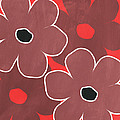 Marsala And Red Flowers- Bold Floral Art by Linda Woods
