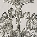 Martin Luther And Frederick IIi Of Saxony Kneeling Before Christ On The Cross by German School