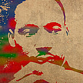 Martin Luther King Jr Watercolor Portrait on Worn Distressed Canvas by Design Turnpike