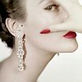 Mary Jane Russell Wearing Earrings