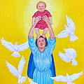 Mary Offers Her Child Jesus To His Father by Michele Myers