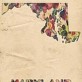 Maryland Map Vintage Watercolor by Florian Rodarte