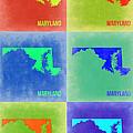 Maryland Pop Art Map 2 by Naxart Studio