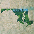 Maryland Word Art State Map on Canvas by Design Turnpike