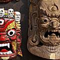 Masks In Kathmandu Nepal by Robert Preston