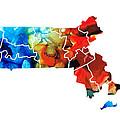 Massachusetts - Map Counties By Sharon Cummings by Sharon Cummings