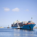 Massive Container Ship Entering River Mouth Assisted By Two Tugs by Colin and Linda McKie