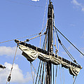Mast And Rigging On A Replica Of The Christopher Columbus Ship P by Sally Rockefeller